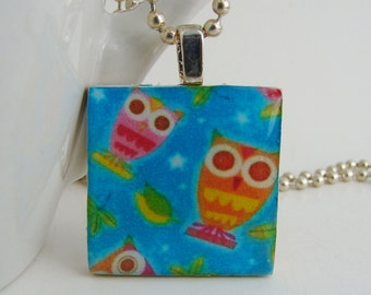 Colorful Owls Pendant with Free Necklace