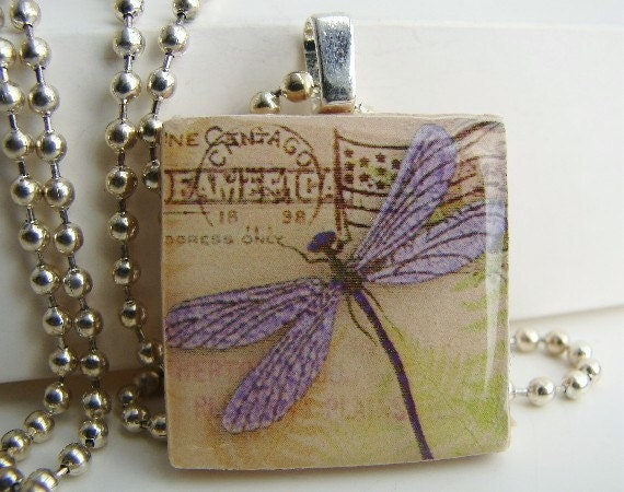 Lavender Dragonfly Pendant with Free Necklace