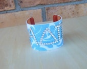 """Your Choice SORORITY Cuff - 2"""" Copper Cuff made with Designer Fabric and Swarovski Stones - 3 Letters"""