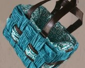 FREE SHIPPING Brown and Bright Blue Comfy Gift Bag with Handle