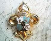 30s Coro Fleur De Lis Enamel Crest Shield Brooch Free Shipping in USA