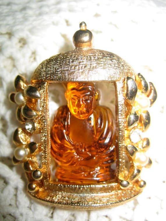 Vtg. Hobe Molded Amber Glass Buddha Brooch Free Shipping in USA