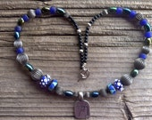 pewter pendant beaded necklace