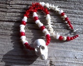 RESERVED for Wendy  magnesite skull pendant beaded necklace