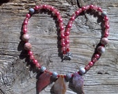 jasper,marble,glass pearls necklace  23 inch