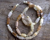 marble beaded necklace and bracelet set  26 inch 8 1/2 inch
