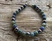 chevron,jasper,hematite bracelet 7 1/2 inches