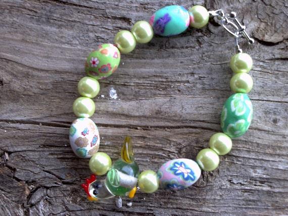 chicken bead,misc.beaded bracelet