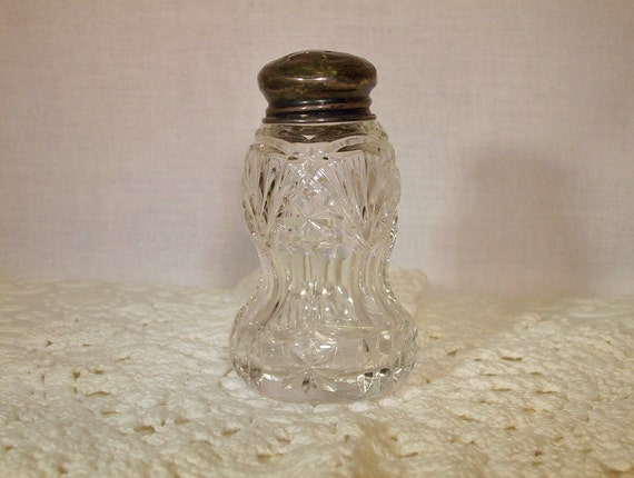 Vintage Crystal Shaker STERLING Silver Lid FREE SHIPPING One Pressed Pattern Glass
