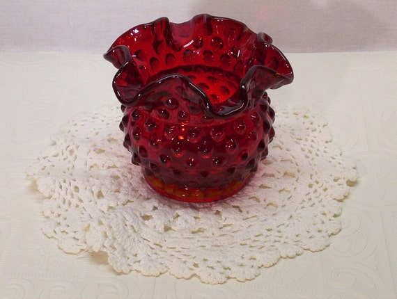 Vintage Fenton Art Glass Ruby Red Hobnail Ruffled By