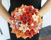 Fall Wedding Paper Flower Bridal Bouquet - Kusudama - Made To Order - Origami