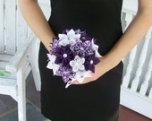 Paper Wedding Flowers Custom Bridesmaid Bouquet -  Kusudama - Origami - Purple - Damask