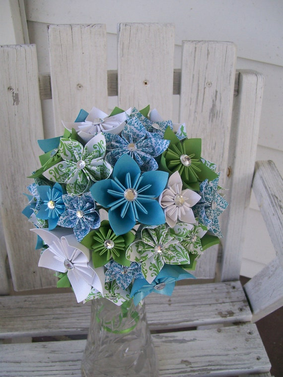 items similar to custom paper flower bridal bouquet made to order kusudama origami on etsy. Black Bedroom Furniture Sets. Home Design Ideas