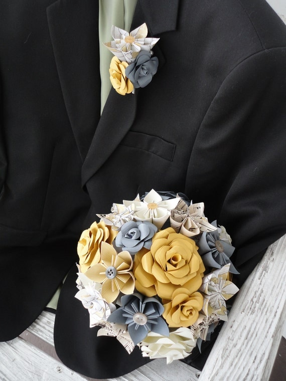 Paper Wedding Flowers Bridal Bouquet Rose Kusudama Gray Sheet Music Custom