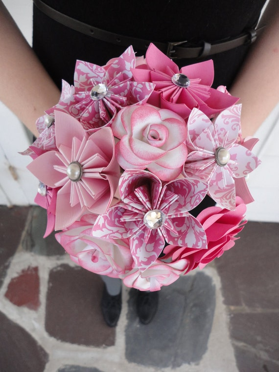 Wedding Flowers Pink Paper Flower Bridesmaid Bouquet - Roses Kusudama Origami Damask