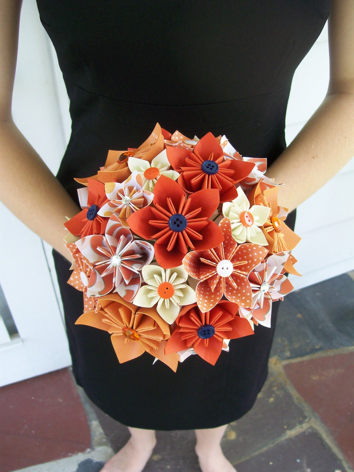 Bridal Bouquet Paper Flowers : Fall wedding paper flower bridal bouquet kusudama by