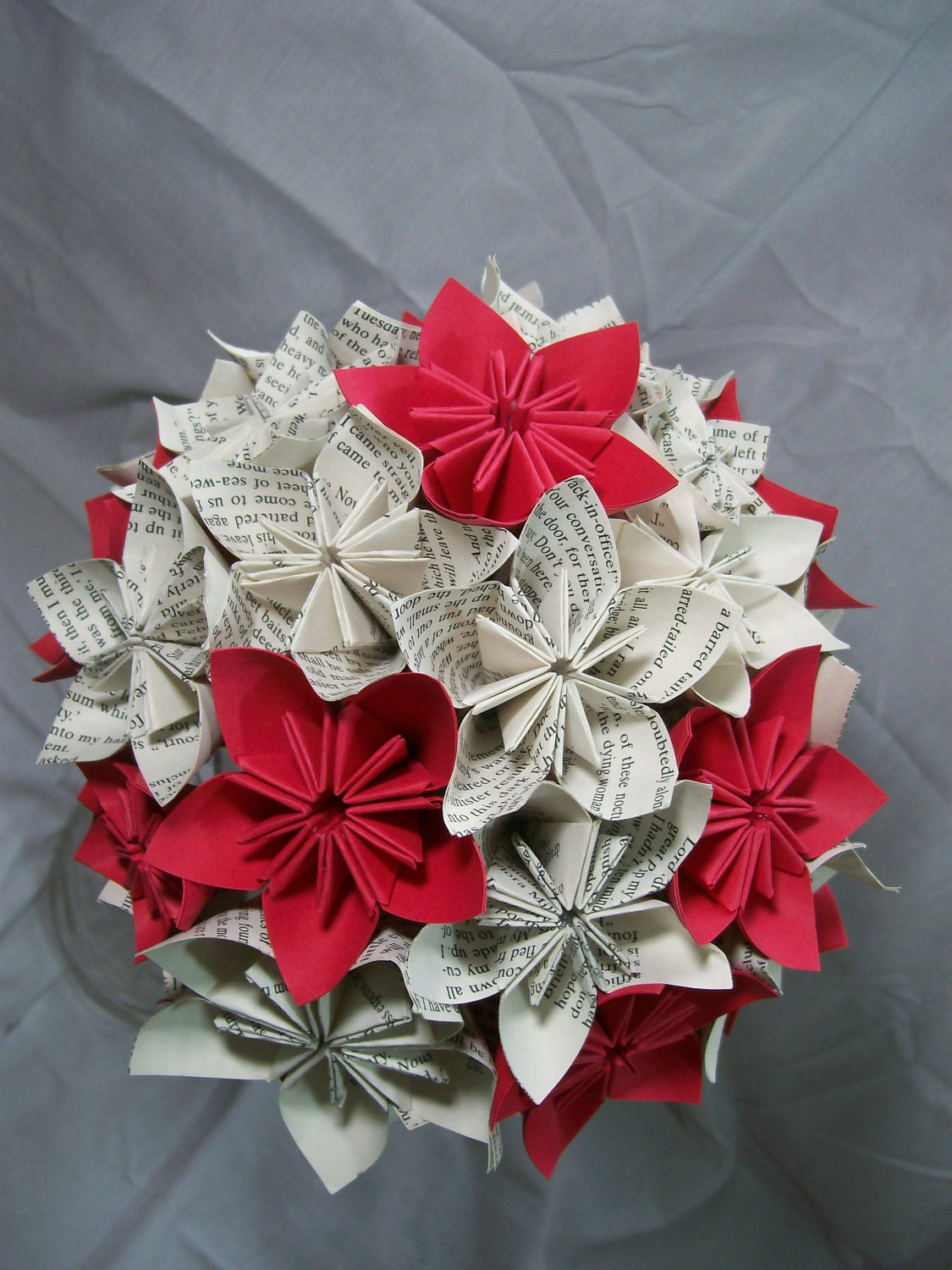 Book Paper Flower Bouquet Red Flowers Origami by PoshStudios - photo#22