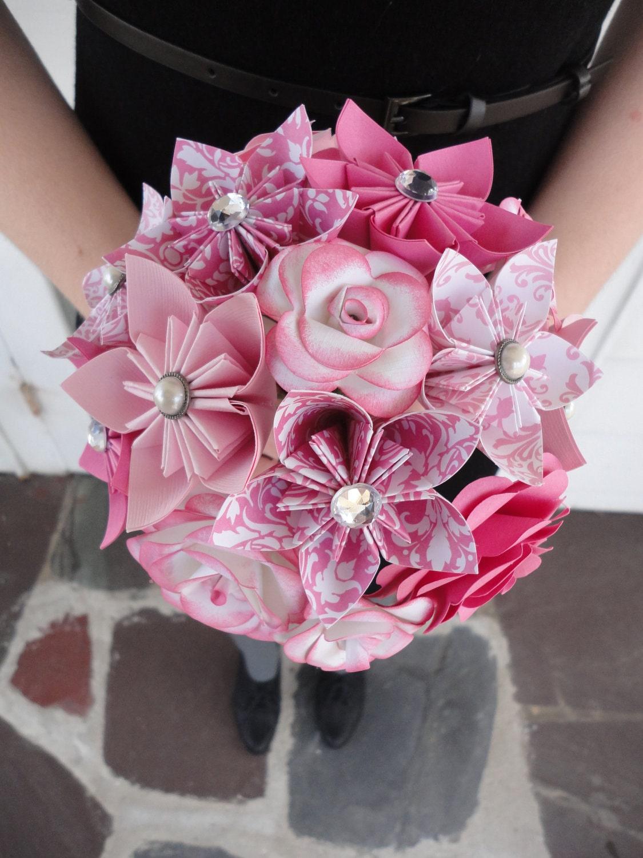 Wedding Flowers Pink Paper Flower Bridesmaid By PoshStudios