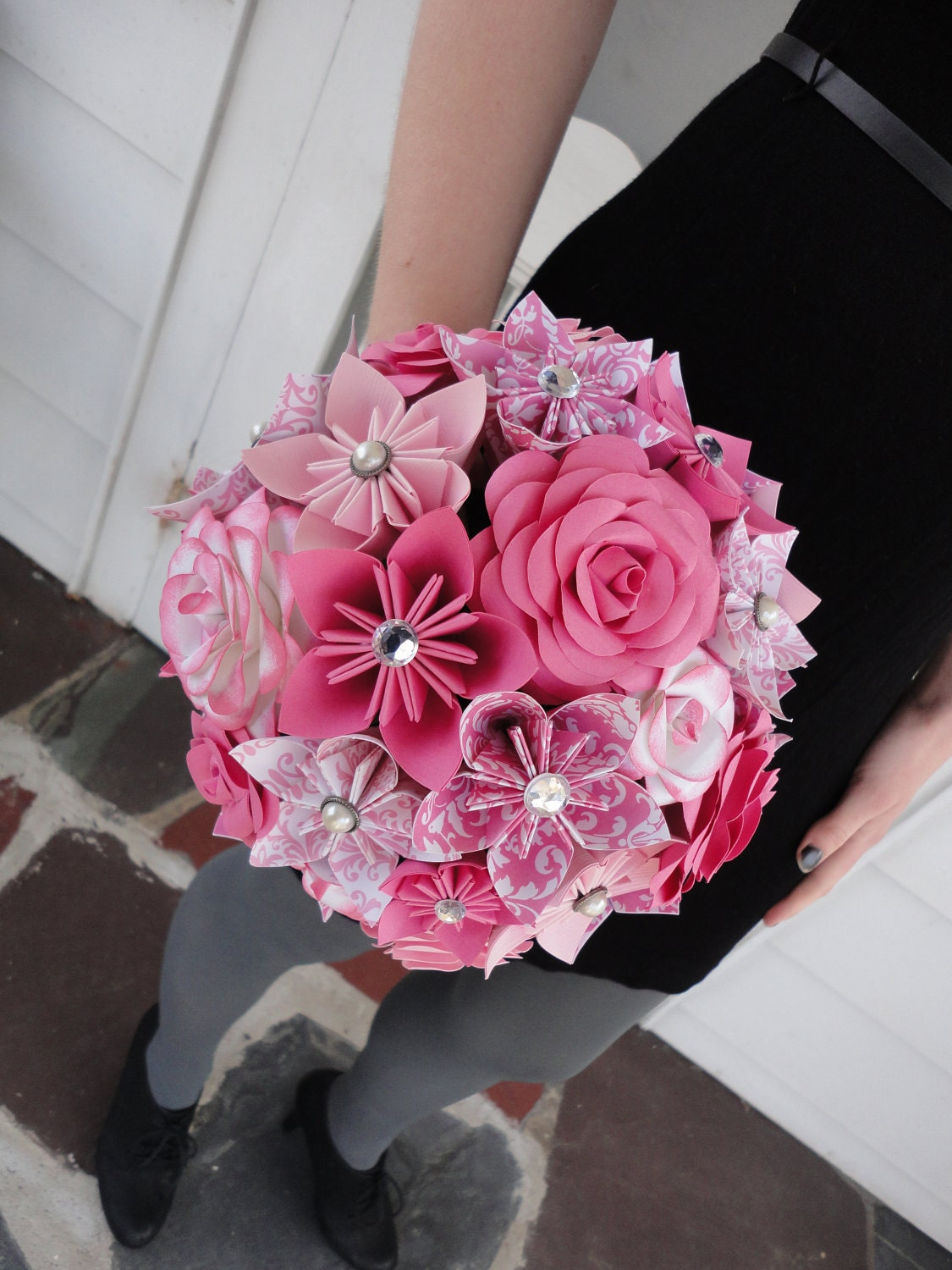 Large Rose Paper Flower Bridal Bouquet Wedding By PoshStudios