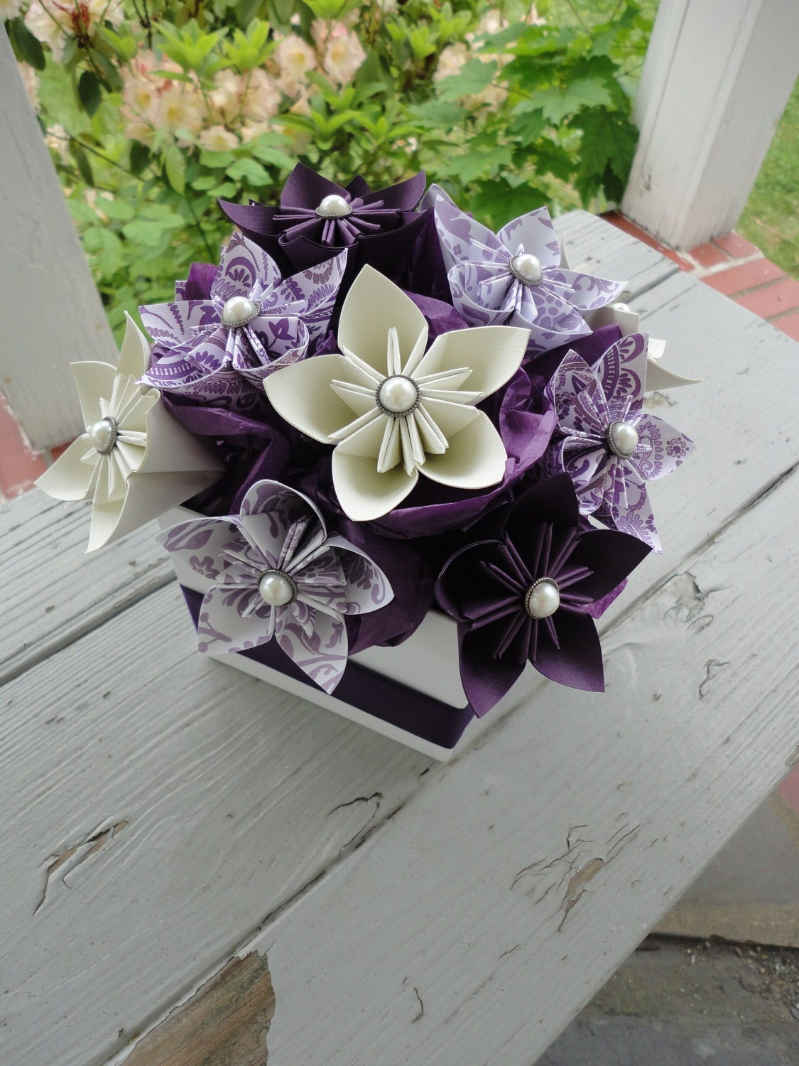 Origami paper flower centerpiece kusudama purple