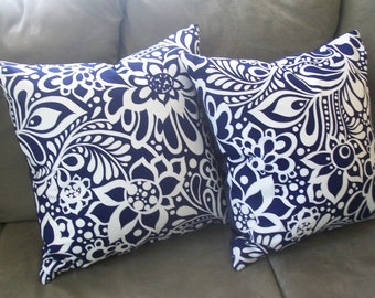 White Flowerson Navy - Luxury PILLOWS, hand made in USA