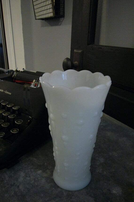 Vintage White Milk Glass Vase Wedding  Shower Centerpiece Decor flower vase