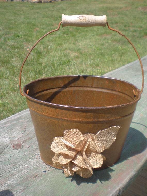 Rustic Woodland Shabby Chic Wedding Flower Girl Basket  rusty Oval bucket  Burlap flowers Program Holder