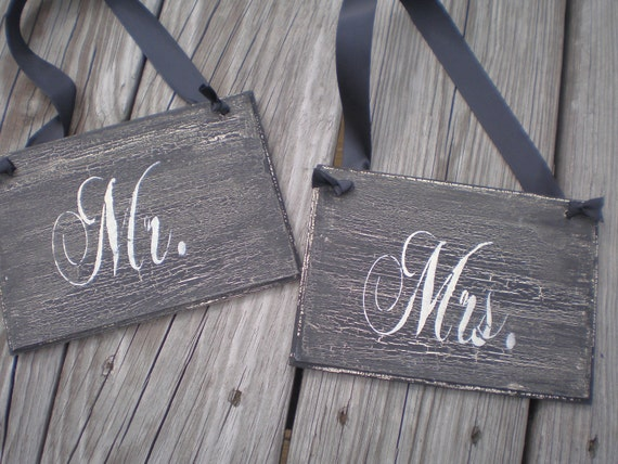 Mr and Mrs Chair signs  Wedding Signs wood Photo prop crackled with cream letters Chair Signs