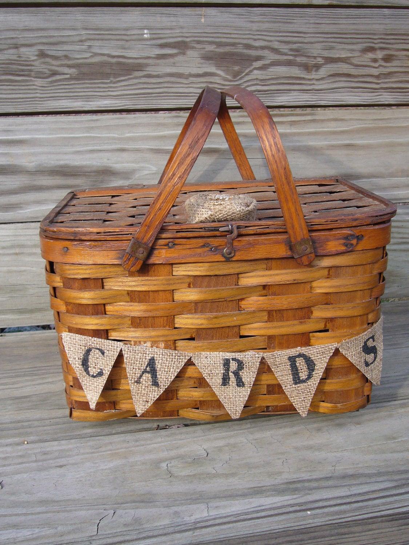 Rustic Woodland Shabby Chic Wedding Card Vintage Picnic Basket