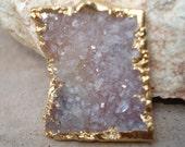 Druzy Pendant 24 KT Gold Edged