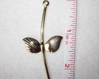 """4 pcs 2 3/8"""" Bright Goldtone Metal 2 Leaf Floral Finding 32"""