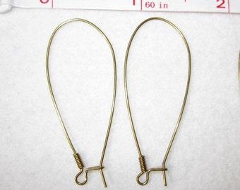 """6 pairs 1 7/8"""" x 3/4"""" VINTAGE Brass/Metal KIDNEY EARWIRES 111"""