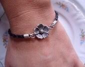 Buttercup Flower - Black Braided Leather Bracelet