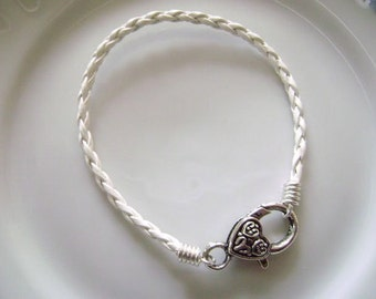 White Braided Leather Bracelet with Large Heart Clasp for European Charms Stack Bracelet Handmade by Taylors Temptations in the USA