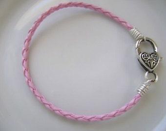 Pink Braided Leather Bracelet with Heart Clasp Stacking Bracelet Breast Cancer Awareness Bracelet Charm Bracelet Pink Power