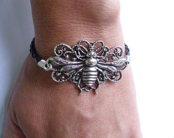 Filagree Bee Bracelet with Black Braided Leather Cord