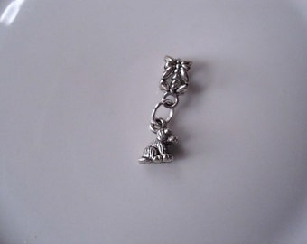 Dog Puppy Dangle Charm Bead fits European Style Charm Bracelets, Necklaces