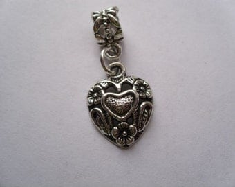 Floral Heart  Dangle Bead for European Style Charm Bracelet