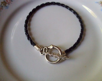 Serpent Snake Black Braided Leather Bracelet