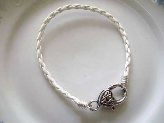 White Braided Leather Cord Bracelet with Large Heart Clasp for European Charms and Beads