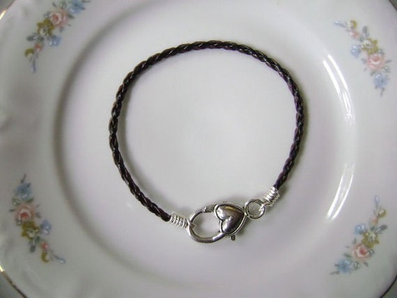 Brown and Black Braided Leather Cord Bracelet with Large Smooth Heart Clasp for European Charms Handmade by Taylors Temptations in the USA