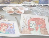 Reserved for azurefiction - Custom Miniature Watercolor Painting of Original Character Nixie