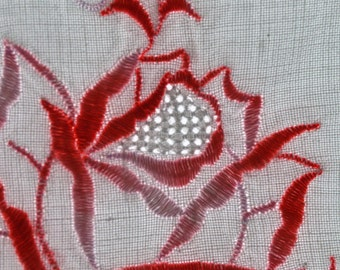 Vintage Cotton Pillow Case Embroidered with a Pink Rose