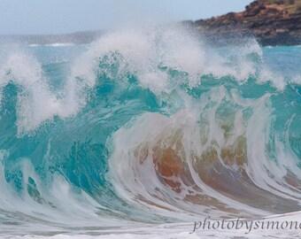 Turquoise wave large aqua wave shore break Maui frothy jaws