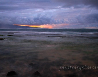 Stormy clouds sunset lavender hues 10x15 fine art photography