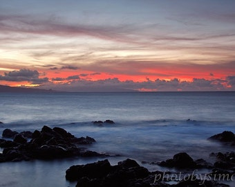 A red sky sunset Maui red white and blue seascape silky water fine art