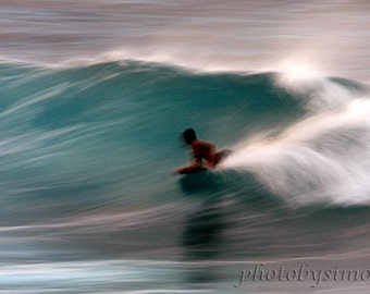 Surfer riding wave Hawaii aqua ocean wave bodyboard action sports photography