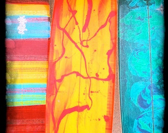 Surf Art colorful surfboards beach art orange red yellow blue