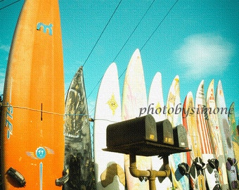 Orange surfboard fence mailbox rural vintage inspired photo Paia Hawaii