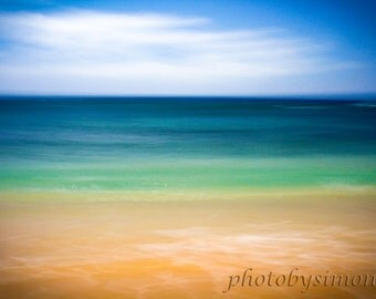 Beach photography vintage inspired mint aqua green ocean peach beach turquoise water tropical abstract